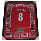 Steven Gerrard Signed Liverpool FC Jersey Framed authentic Image Full View