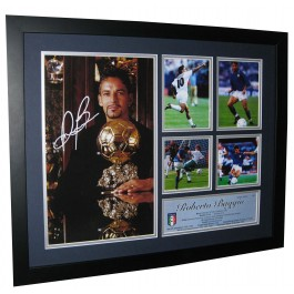 Roberto Baggio Autographed Photo Framed authentic Image Full View