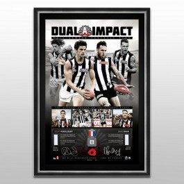 Scott Pendlebury & Dane Swan Signed Collingwood Magpies Dual Impact Lithograph