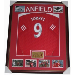 Fernando Torres Signed Liverpool FC Jersey Framed authentic Image Full View