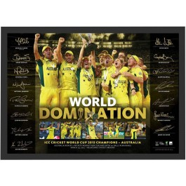 Signed Australia 2015 ICC Cricket World Cup Champions Domination Print Poster image