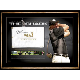 Greg Norman signed Centenary PGA Flag image full view