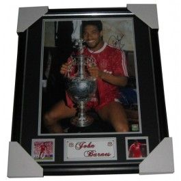 John Barnes hand signed Liverpool 1990 photo image full view