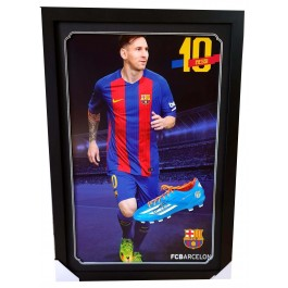 Lionel Messi signed Boot framed Memorabilia authentic Image Full View