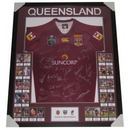QUEENSLAND STATE OF ORIGIN GREATS SIGNED JERSEY FRAMED