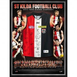 St Kilda Saints Signed 2014 jersey framed