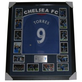 Fernando Torres Signed Chelsea FC Jersey Framed authentic Image Full View