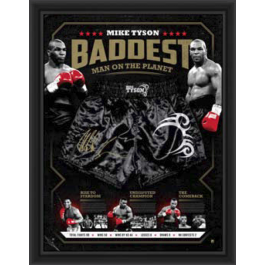 Mike Tyson signed trunks framed image full view