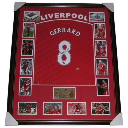 06fe466f5 Steven Gerrard Signed Liverpool FC Jersey Framed authentic Image Full View