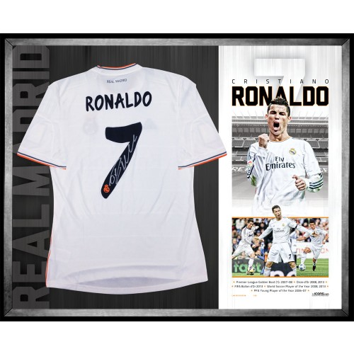 promo code 121dc d79c8 Cristiano Ronaldo signed Real Madrid jersey FRAMED