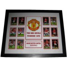 Manchester United logo & cards Poster Framed